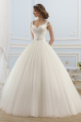 Elegant & Luxurious Backless Capped Sleeves Sweep Train Wedding Dress