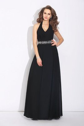 Chiffon Zipper Up Beading Sleeveless Long Bridesmaid Dress
