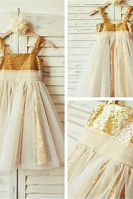 Ruffles Zipper Up Flowers Sequins Empire Waist Flower Girl Dress