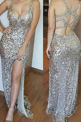 Sequins Sleeveless Sheath Natural Waist V-Neck Prom Dress
