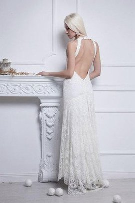Lace Fabric Elegant & Luxurious Backless Sleeveless Sheath Wedding Dress