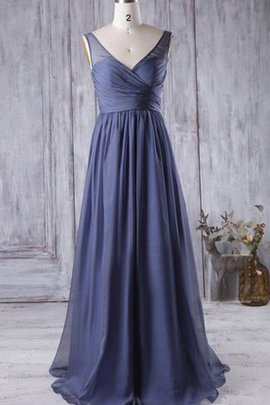 Floor Length Pleated Natural Waist A-Line V-Neck Bridesmaid Dress