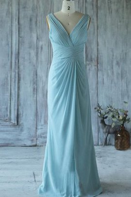 Chiffon Deep V-Neck Floor Length Criss-Cross Bridesmaid Dress