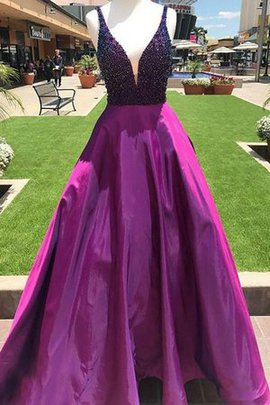 Satin Natural Waist Fashionable V-Neck A-Line Floor Length Beading Prom Dress