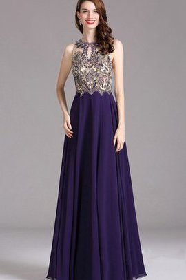 Empire Beading High Neck Chiffon Sleeveless Prom Dress