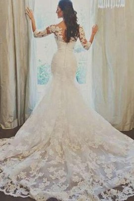 Romantic Cathedral Train Bateau Appliques Mermaid Wedding Dress