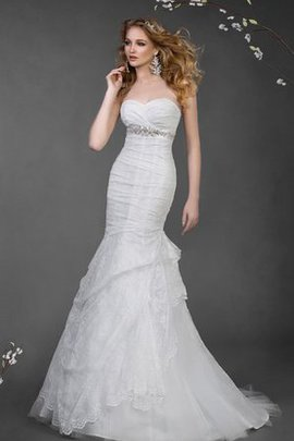 Mermaid Draped Lace Sweetheart Beading Wedding Dress