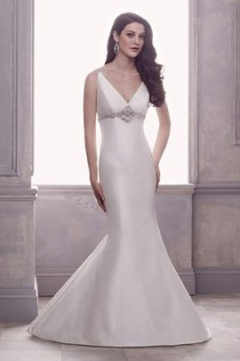 Satin Hourglass Beading Mermaid Thin Wedding Dress