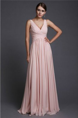 Floor Length V-Neck Long Princess Chiffon Bridesmaid Dress