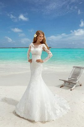 Elegant & Luxurious Simple Beach Appliques Bateau Wedding Dress