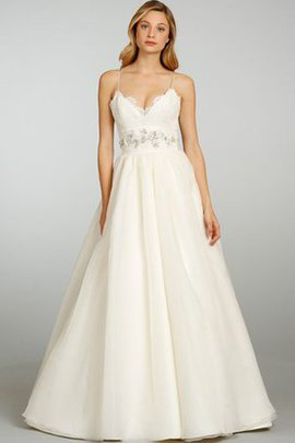 Spaghetti Straps Natural Waist Lace Sweep Train Wedding Dress