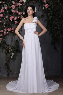 A-Line Ruffles Flowers Sleeveless Chiffon Wedding Dress