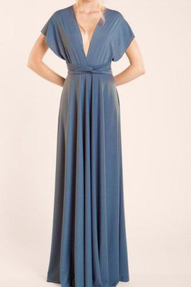 V-Neck Short Sleeves A-Line Criss-Cross Sashes Bridesmaid Dress