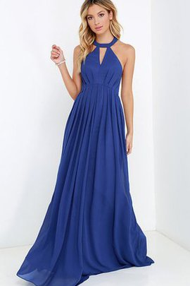 Chiffon Long Halter A-Line Empire Waist Bridesmaid Dress