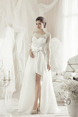 A-Line Satin Knee Length Informal & Casual Wedding Dress