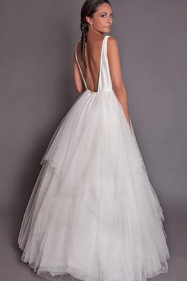 A-Line Tiered Sleeveless Tulle Backless Wedding Dress