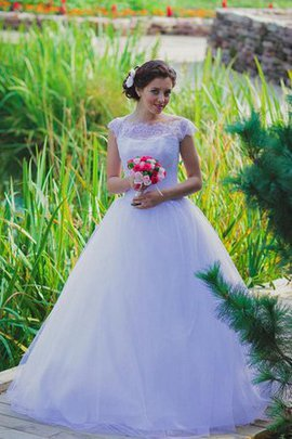 Floor Length Lace Tulle Short Sleeves Ball Gown Wedding Dress