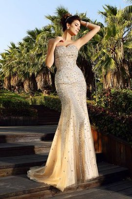 Zipper Up Beading Sweetheart Mermaid Long Evening Dress