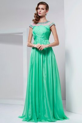 A-Line Chiffon High Neck Beading Floor Length Prom Dress