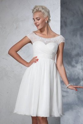 Empire Waist Short Sleeves Knee Length A-Line Wedding Dress