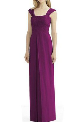 Ruched Capped Sleeves Chiffon Floor Length Bridesmaid Dress