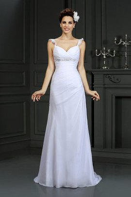 Empire Waist Spaghetti Straps Mermaid Beading Chiffon Wedding Dress