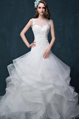 Ruffles Lace Fabric Satin Flowers Appliques Wedding Dress