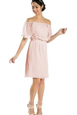 Bow Knee Length Off The Shoulder Short Sleeves Chiffon Party Dress