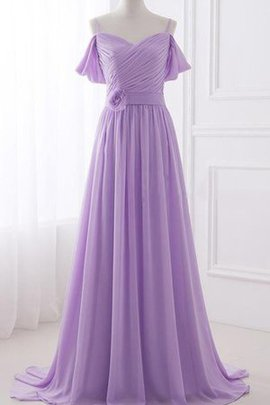 Pleated Sweep Train Flowers A-Line Elegant & Luxurious Bridesmaid Dress