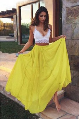 Princess Wide Straps Sleeveless Lace 2 Piece Prom Dress