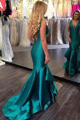 Satin Sleeveless Sweep Train Mermaid Natural Waist Evening Dress