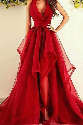 Organza Asymmetrical Natural Waist A-Line Evening Dress