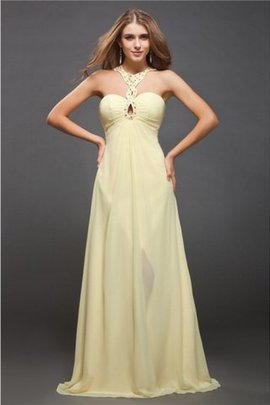 Natural Waist Long Halter Sleeveless Floor Length Prom Dress