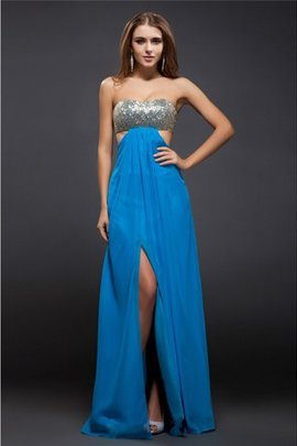 Chiffon Long Natural Waist Floor Length Sequined Evening Dress