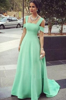 A-Line Satin Floor Length Pleated Backless Bridesmaid Dress