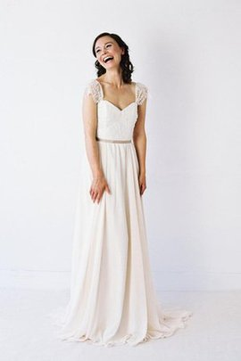 Chiffon Short Sleeves Pleated Lace Sweep Train Wedding Dress