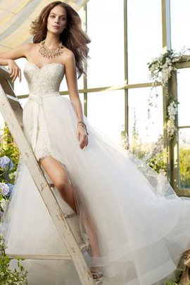 A-Line Lace Sashes Zipper Up Sleeveless Wedding Dress