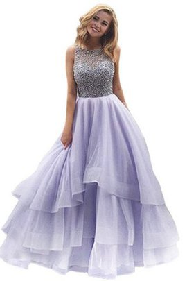 Scoop Ball Gown Beading Floor Length Organza Quinceanera Dress