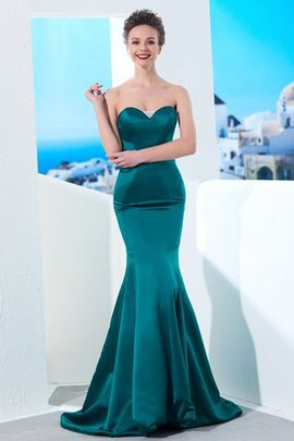 Zipper Up Sweetheart Mermaid Sleeveless Satin Evening Dress