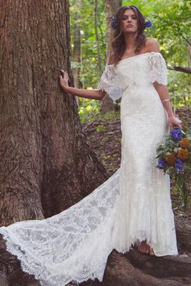 Simple Lace Off The Shoulder Half Sleeves Chic & Modern Wedding Dress
