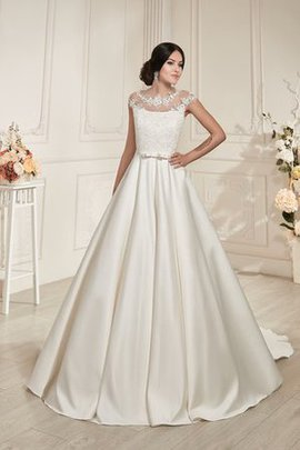 Satin Long Court Train Appliques Jewel Wedding Dress