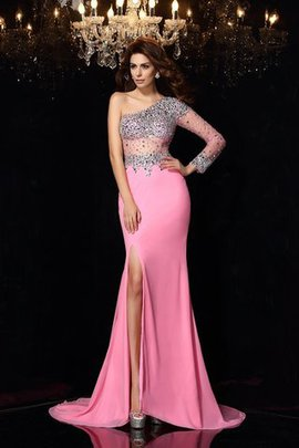 Long Sleeves Long One Shoulder Natural Waist Chiffon Prom Dress