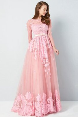 3/4 Length Sleeves Scoop Appliques Princess Natural Waist Evening Dress