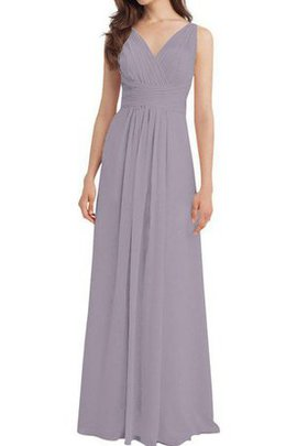 Ruched Chiffon Long V-Neck A-Line Bridesmaid Dress