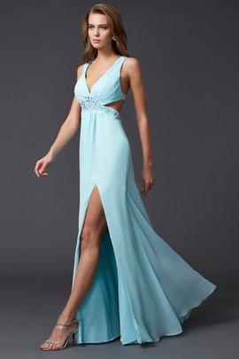 Beading Backless Sleeveless Empire Waist Floor Length Prom Dress