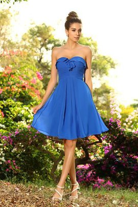 Zipper Up Princess Natural Waist Chiffon Short Bridesmaid Dress