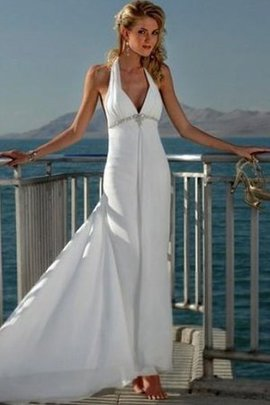 V-Neck Sleeveless Empire Court Train Wedding Dress
