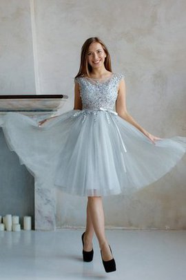 Short Sleeves Natural Waist Pleated Appliques A-Line Homecoming Dress