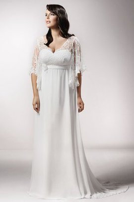 Vintage A-Line Sashes Sweep Train Chiffon Wedding Dress