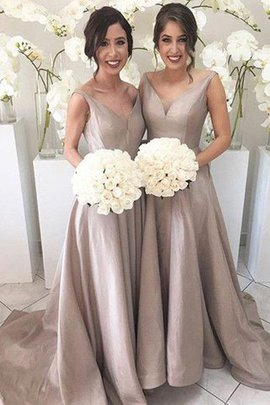 V-Neck A-Line Sleeveless Natural Waist Bridesmaid Dress